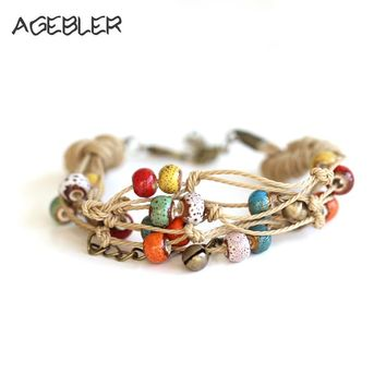 Women Ethnic Style Ceramic Bracelets & Bangles Handmad Bohemia Vintage Jewelry Double Layer String Colorful Beads with Bell Red