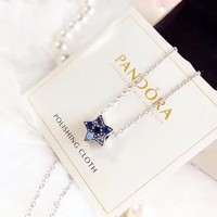 Pandora Fashion New Diamond Star Pendant Sterling Silver Women Personality Necklace Silver