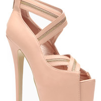 Red Kiss Zip It Up Tan Peep Toe Pumps