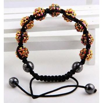 Caramel Resin Disco Ball Shambhalla Bracelet