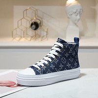 LV Louis Vuitton Women's Leather Stellar Sneakers Shoes