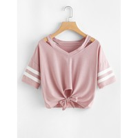 Cut Out Neck Varsity Striped Knot Front Tee Pink