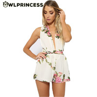 Owlprincess summer cute female overalls Clothing Backless chiffon floral romper women Deep V Neck playsuits jumpsuit