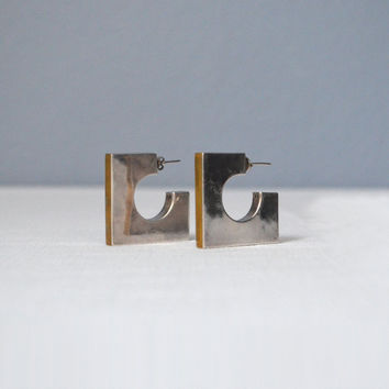 Vintage Large Mexican Silver and Brass Modernist Geometric Earrings