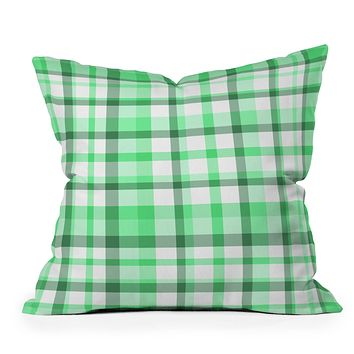 Lisa Argyropoulos Mint Plaid Outdoor Throw Pillow