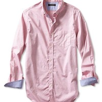 Tailored Slim Fit Soft Wash Red Dobby Button Down Shirt