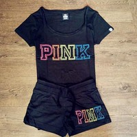 Victoria's Secret PINK Women Casual Short Sleeve Top Casual Shorts Set Two-Piece