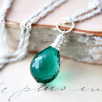Emerald Green Necklace Silver May Pendant