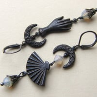 Vintage Inspired  Dangle Earrings, Gypsy Goth, Asymmetrical