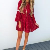 When Stars Dance Dress: Burgundy/White