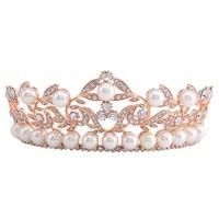 2.3 inch High Baroque Crown Tiara Headband Bridal Hair Accessories Rose Gold Color Jewelry Leaf Crystal Tiaras HG00260