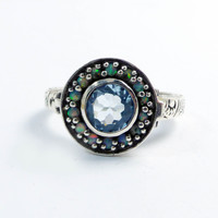 Natural Aquamarine and Opal Sterling Silver Poison Pill Box Ring
