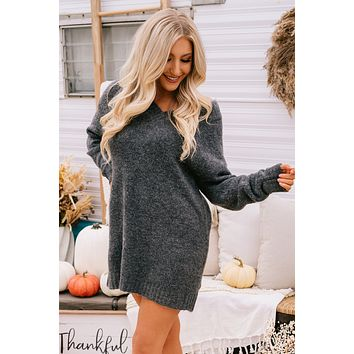 Come My Way V-Neck Sweater Dress (Charcoal)