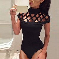 Free Ostrich Sexy Turtleneck Caged Bodysuits Women Hollow Out Skinny Solid Short Sleeve Women Tops Bodycon Body Mujer D35