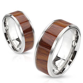 8mm Wood Pattern Light Color Center Stainless Steel Men's Band Ring