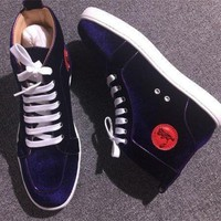 DCCK6 Cl Christian Louboutin Suede Style #2245 Sneakers Fashion Shoes