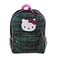 Hello Kitty Backpack - Black with Multi Color Logo Print