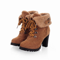 Fashion winter lace up high-heeled snow boots