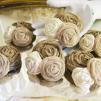 Set of 6, Shabby Flower Clusters made of khaki, tan and ivory fabrics for weddings, can be used as corsages, hair pieces, cake toppers.