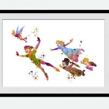 Peter Pan watercolor art print Peter Pan and Wendy colorful poster Disney art decor Home decoration Kids room decor Nursery room art W603