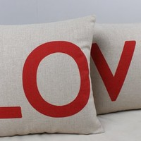 "Ojia 18 X 18"" Cotton Linen Decorative Couple Throw Pillow Cover Cushion Case Couple Pillow Case, Set of 2 - Love"