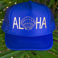 NOMAD HAWAII Aloha Trucker Hat - Sunrise Shell, Royal Blue/Gold