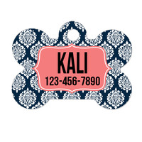 Personalized Dog Tag - Damask Navy Coral Dog ID Tag - Personalized Bone Dog Tag - Pet Gift - Custom Pet ID Tag