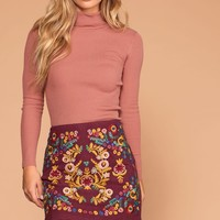 Harvest Embroidered Burgundy Mini Skirt