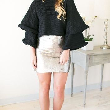 All About The Sequin Pewter Mini Skirt