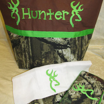Handmade mossy oak infinity camo camouflage browning inspired deer buck lime green diaper bag travel wipes case and burp cloth