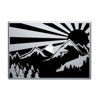 """Mountain Landscape Vinyl Decal / Sticker to fit Macbook Pro 13"""" 15"""" 17"""" - Custom sizes available - wild precision die cut sunset sunrise"""