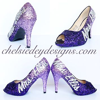 Glitter Wedding High Heels, Purple Lilac Ombre Platform Pumps with New Last Name