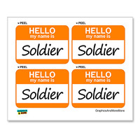 Soldier Hello My Name Is - Sheet of 4 Stickers