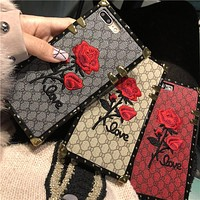 European luxury brand square lattice rose embroidery soft silicone phone case for iphone 6 6plus 6s 7 7 plus 8 8 plus cover
