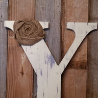 Antique white and gray Rustic Chic Wooden Letter B home decor letters burlap flower tan distressed Primitive Wreath Letter