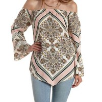 Ivory Combo Scarf Print Off-the-Shoulder Tunic Top by Charlotte Russe