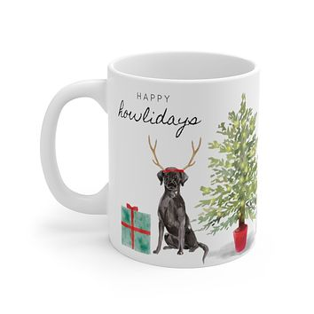 Happy Howlidays Mug — Black Lab
