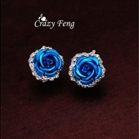 Women's New Silver Plated Crystal 6 Colors Roses Stud Earrings For Wedding [7983767815]