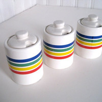 Rainbow Striped Condiment Servers by WaveSong on Etsy
