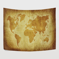 Vintage World Map Tapestry Wall Hanging Yellow Old Global Map Wall Decor Art for Bedroom Living Room and Dorm