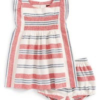Infant Girl's Tea Collection Stripe Smocked Dress & Bloomers,