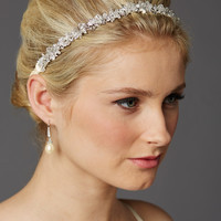 Slender Bridal Headband with Hand-wired Crystal Clusters and Ivory Ribbons