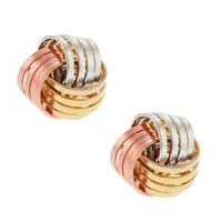 Two Tone White and Yellow 10mm Gold Plated Knot Earrings