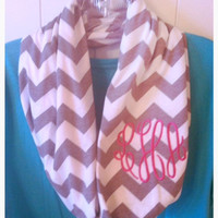 Monogrammed Chevron Stripe Infinity Scarves LONG Length for Double Wrap