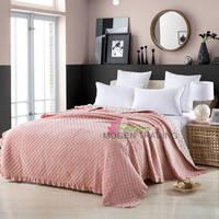 Coverlet Very Soft Cotton Quilt Solid Color Quilts 1 Piece Plush Bedspread Bed Cover Bedding Quilted Blanket Free Shipping