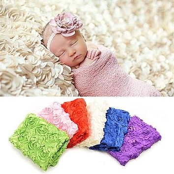 Fashion 3D Rose Flower Pattern Baby Photography Photo Prop Backdrop Blanket Rug