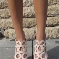 Cream suede look sandals (Pippa) from Chockers Shoes