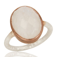 Natural Rainbow Moonstone 18K Gold Over Sterling Silver Gemstone Ring