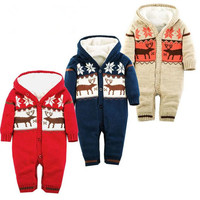 Baby Rompers Winter Outdoor Thick Climbing Clothes Infant Newborn Boys Girls Warm Romper Knitted Sweater  Hooded Outwear