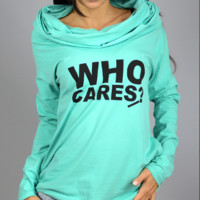 Letter Print Cowl Neck Knit Hoodie Shirt